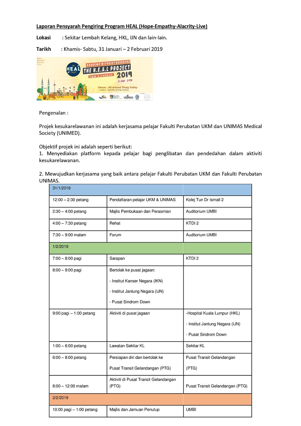Laporan Pensyarah Pengiring Program HEAL (Hope-Empathy