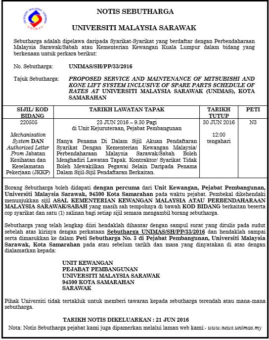 UNIMAS/SH/PP/33/2016 - PROPOSED SERVICE AND MAINTENANCE OF