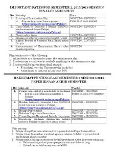 IMPORTANT DATES FOR SEMESTER 2, 2015/2016 SESSION FINAL EXAMINATION